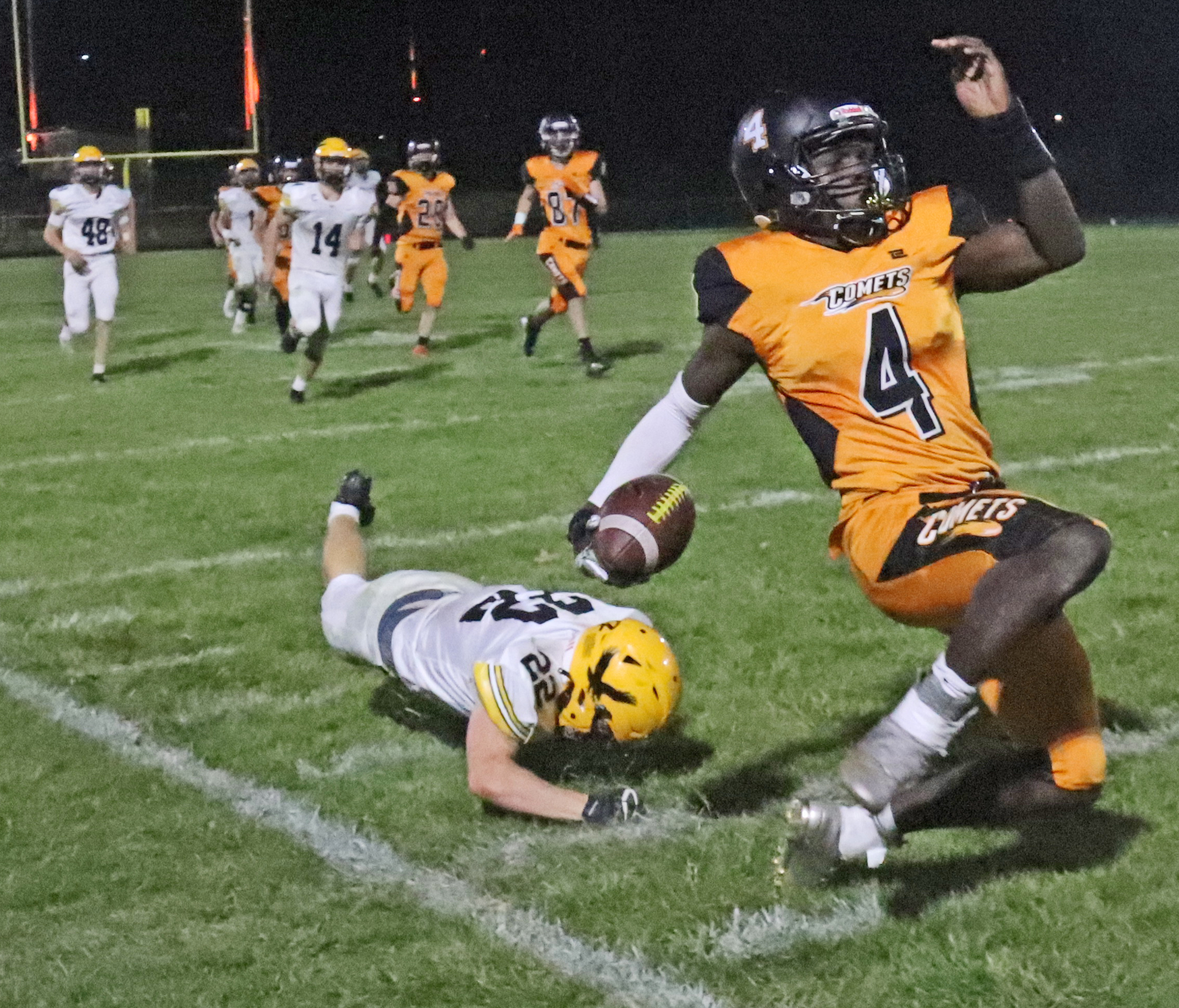 Go Hawks too much for Comets 49-7