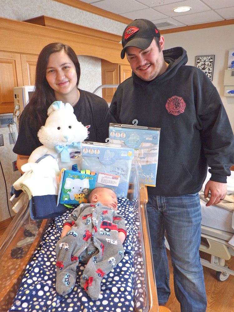 Floyd County's first baby of the new year makes quite an entrance