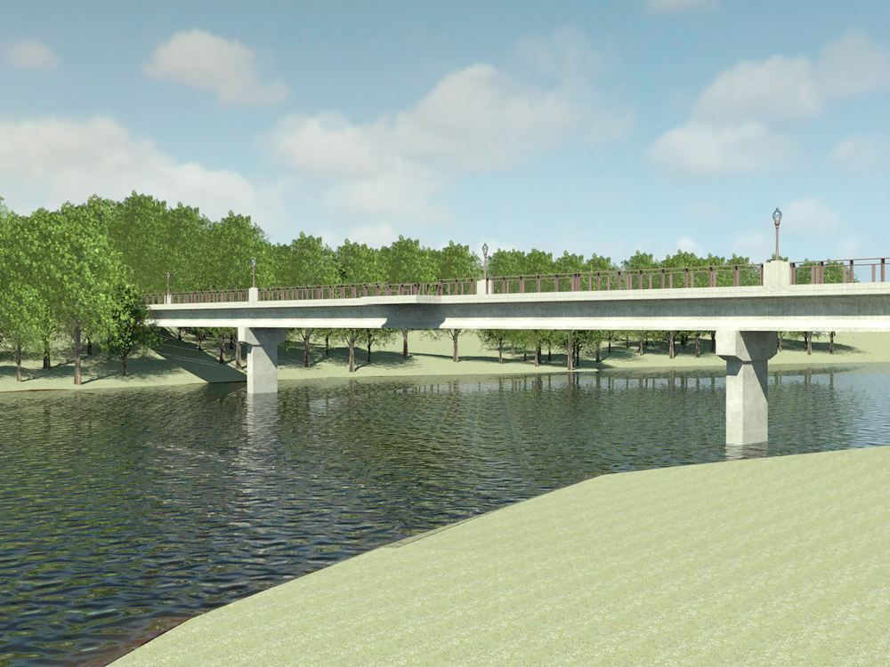 Replacement Charley Western Trail Bridge construction now crosses the Cedar River